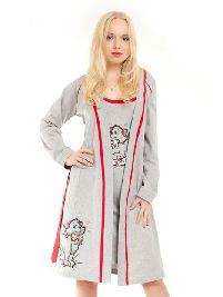 Женский трикотажный халат с рисунком «Кошка с подушкой» - Арт.05112