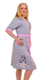 Костюм-двойка халат и туника с печатью «Кошка с одеялом».- Арт. 05112