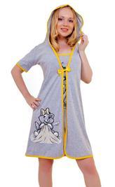 Трикотажный костюм-двойка (туника+халат) «Кошка с одеялом». Арт. 05144