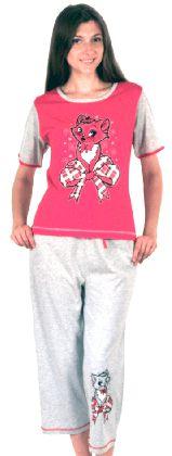 Домашний костюм -  футболка рукавом и серые бриджи. Арт.0514611Г