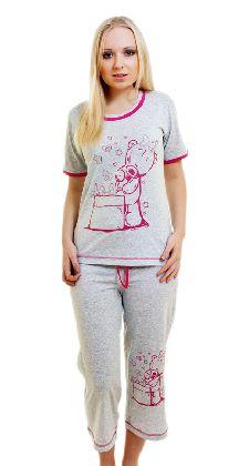 Домашний костюм с бриджами «Мишка с подарком» один цвет Арт. 05140