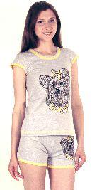 Домашний костюм - серая футболка и серые шорты . Арт.0513730