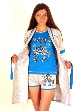 Домашний трикотажный костюм-тройка: футболка с шортами и халат. Арт. 0514231