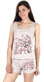 Домашний костюм - футболка без рукавов и серые шорты рюша. Арт.0513645