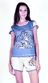 Домашний костюм - футболка и серые шорты. Арт.05137Г80