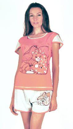 Домашний костюм - футболка и серые шорты. Большие размеры. Арт.05137Г79