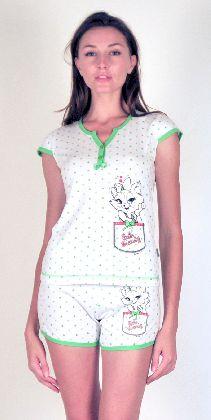 Домашний костюм - белая в сердечки футболка с 2 пуговичками и бантиком и шорты. Арт. 0515756
