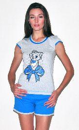 Домашний костюм - серая футболка и цветные шорты. Арт. 05137173