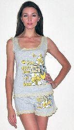 Домашний костюм - серая футболка без рукавов и серые шорты рюша. Арт.05136145