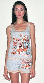 Домашний костюм - серая футболка без рукавов и серые шорты рюша. Арт.05136144