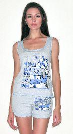 Домашний костюм - серая футболка без рукавов и серые шорты рюша. Арт.05136142