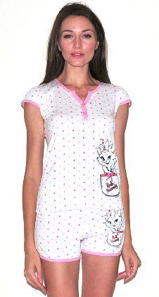 Домашний костюм - белая в сердечки футболка и шорты. Арт. 05157136
