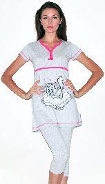 Женский домашний костюм из серого трикотажа туника и капри. Артикул 05150209