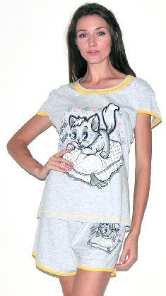 Домашний костюм - серая футболка и серые шорты . Арт.05137Г167