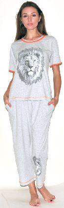Домашний костюм - футболка с рукавом и бриджи. Арт.05146Г160