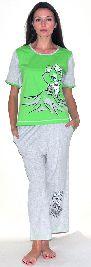 Домашний костюм - футболка с рукавом и серые бриджи. Арт.05146Г158