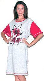 Серая туника с цветным рукавом с боковыми разрезами. Арт.0582Г104